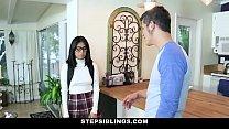 StepSiblings - Nerdy Teen Rides Stepbros Cock - 9Club.Top