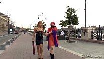 Redhead slut gets gangbang in public's Thumb