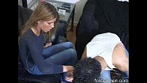 Lazy slave smells his mistress' socks as part of his punishment