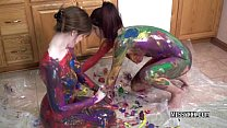 Tattooed redheads Indigo and Lavender get erotic with paint video