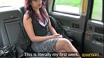 Skanky ebony babe rides a hard dick driver on the taxi