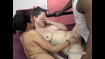 Curvy Lavender in a threesome with a mature slut