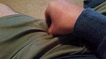 Old amateur guy talks while rubbing cock against thigh and cums