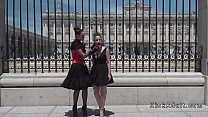 Spanish slave and mistress in public - 9Club.Top