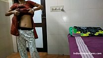 Indian Bhabhi In Brown Shalwar Suit Changing In