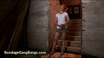 Chained babe gangbang fucked by her husband and his friends in basement Vorschaubild