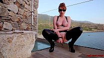 Mature British redhead masturbating on the balcony video