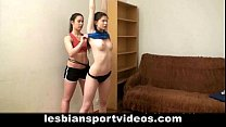 Naked lesbians stretching