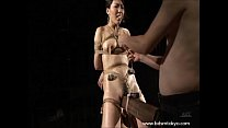 Wooden horse bondage and tit of japanese slave girl in the tokyo dungeon thumbnail
