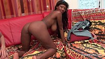 Pretty big boobed french black deep anal fucked and jizzed on body for a casting thumbnail