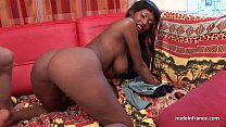 Pretty big boobed french black deep anal fucked and jizzed on body for a casting pornhub video