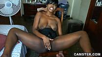 Shaved ebony pussy gets hot and sweaty when masturbating