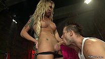 Blonde shemale bombshell fucks cowboy
