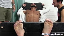 Bound businessman tickled and tormented by two deviants