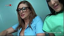 17417 Hot gynecologist in fishnets examing lesbo cunt preview