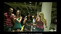 Three HOT sluts start orgy in public while wait...