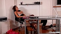 Busty lesbians Ava Koxxx & Isabella Lui stuff their assholes at the office Preview