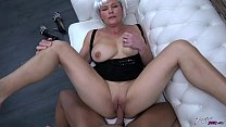 Busty milf with fake hair eat all strangers cum... Thumbnail