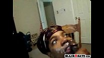 Ebony GF gives blowjob and gets facialized