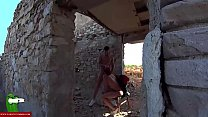 She eats all his cock in an abandoned place awa...