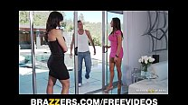 Two big-tit brunette MILF's seduce and fuck their poolboy