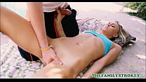 Cute Blonde Tiny Teen Stepsister Bree Mitchells And Her Stepbrother Like To Play