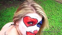 Teen in clown costume banging outdoor to cumshot