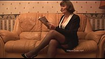 Hairy Granny in stockings plays with panties th...
