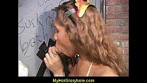 Hot girl sucking big white cock through a gloryhole 13