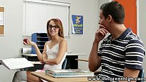 InnocentHigh Cute teen rides cock in the classroom image
