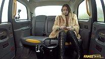 Fake Taxi Ava Austen rides a big black dildo on the backseat