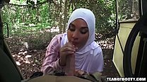 Two arab babes suck a cock