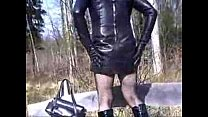 Shemale In Leather Playing With Plug Outside