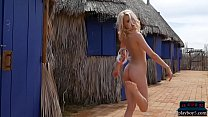 Petite teen blonde with small tits strips for Playboy