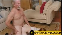 Old farts on skinny Redhead girl