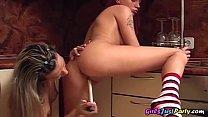 Lesbian Dildo Fun In The Kitchen