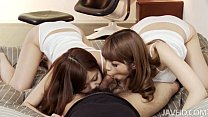 Nao and a girlfriend share a horny guy and his rigid dick taking turns sucking h