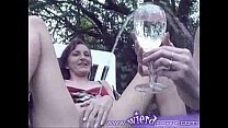 British babes piss into glass and drinks all of it Thumbnail
