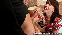 Horny brunette wife talks her man out of going ...