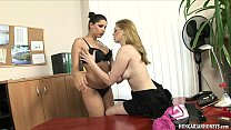 19784 Hungarian lesbian secretary eating pussy on a desk preview