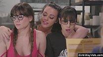Sexy nerdy girls lesbian orgy's Thumb