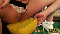 Submissive maid pisses