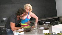Busty blonde Alyssa cooks up something kinky