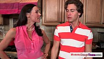 Busty milf fucked during threeway with teens preview image
