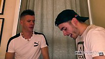 Sorry faced Cute Boy DP by 2x HUNG n Thick HOT UK lads REPEATEDLY n Rammed Hard with cum-soaked fingers
