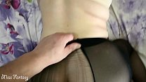 Ripped pantyhose and fucked doggy style a young mom
