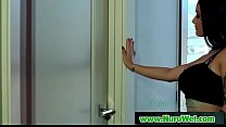 Hot asian masseuse gives pleasure with her tits in nuru massage 22