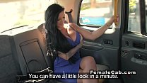 Ginger female fake taxi driver licks busty babe