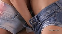 Blonde jeans shorts lebians licking