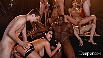 Deeper. Angela, Emily and Kira Sex Overdose in Epic Gangbang